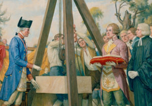 Washington laying cornerstone